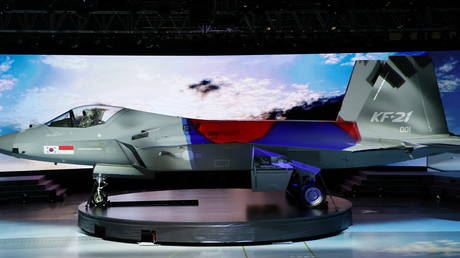 The country's first homegrown fighter jet called KF-21 is unveiled during its rollout ceremony in Sacheon, South Korea, © Yonhap via REUTERS  NO RESALES. NO ARCHIVE.