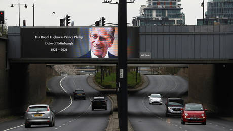 A screen with a picture and a message about the death of Britain's Prince Philip. ©REUTERS / Hannah McKay