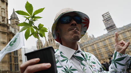 Campaigners for the medical use of cannabis gather outside the Houses of Parliament in central London on February 23, 2018. © AFP / Adrian Dennis