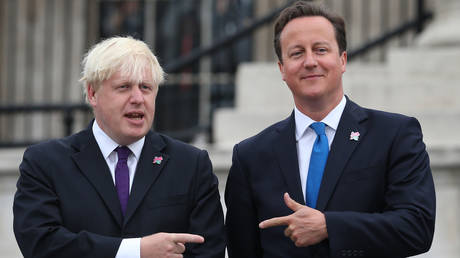 Then Prime Minister David Cameron (R) with then London Mayor Boris Johnson, London, August 24, 2012