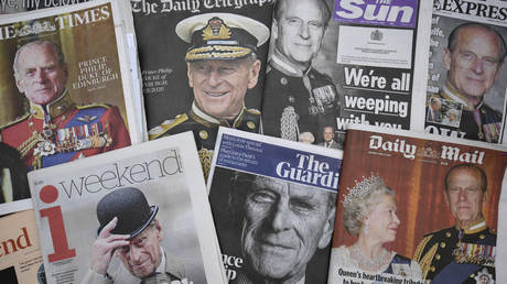 A display of newspaper front pages is seen following the announcement on Friday April 9, of the death of the Duke of Edinburgh, Saturday, April 10, 2021.