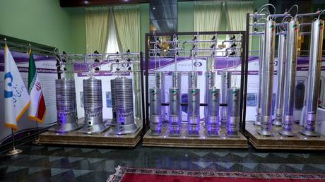 FILE PHOTO: New generation centrifuges on display during Iran's National Nuclear Energy Day in Tehran. ©Iranian Presidency Office / WANA via REUTERS