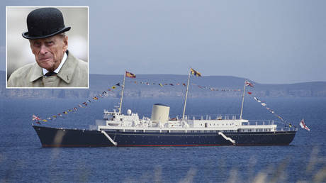 The Royal Yacht Britannia © Bryn Colton / Getty Images; (inset) Prince Philip © HANNAH MCKAY / POOL / AFP