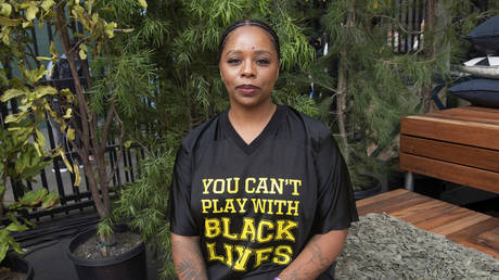 Patrisse Cullors poses for a photo on day three of Summit LA18 in Los Angeles.
