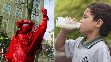 (L) A Red Rebel is seen performing under the watchful eye of the police during the demonstration. ©  Ana Fernandez / SOPA Images / LightRocket via Getty Images; (R) Nico Mu of St Dominics Primary School enjoys a drink of milk. © Sandra Mu / Getty Images