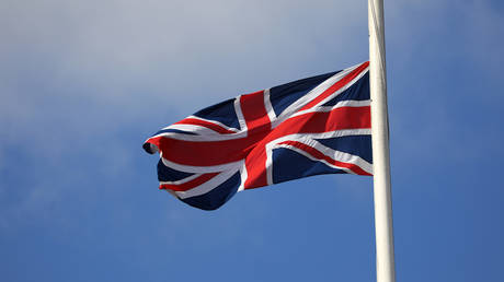 The Union Flag fly's at half mast on April 10, 2021 in London, United Kingdom.
