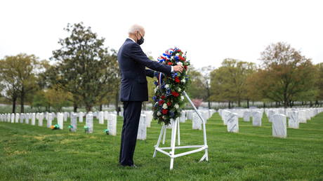 The 'bounties' story was cited by now-President Joe Biden (pictured at Arlington National Cemetery, April 14, 2021) during the 2020 campaign.
