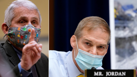 Rep. Jim Jordan, R-Ohio, questions Dr. Anthony Fauci during the House Select Subcommittee on the Coronavirus Crisis hearing on the Capitol Hill in Washington, US, April 15, 2021
