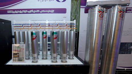 A number of uranium-enriching centrifuges are seen on display during Iran's National Nuclear Energy Day in Tehran, Iran on April 10, 2021.