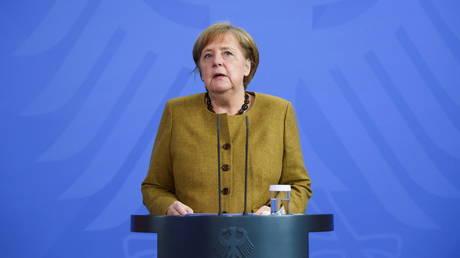 FILE PHOTO. German Chancellor Angela Merkel in Berlin, Germany, April 13, 2021