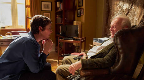 Anthony Hopkins and Olivia Colman in The Father (2020), Florian Zeller; West London Film Studios, Hayes, Hillingdon © IMDB