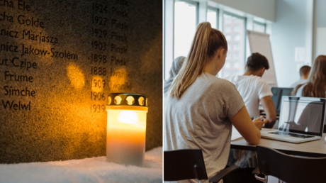 (L) FILE PHOTO. Memorial wall for victims of the Holocaust outside of Stockholm's Great Synagogue © Getty Images / Michael Campanella; (R) FILE PHOTO. Classroom in Sweden © Getty Images / Kentaroo Tryman