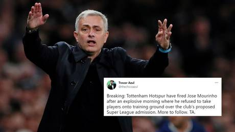 Many were duped by the claim from a troll account regarding Mourinho's sacking at Spurs. © Reuters / Twitter