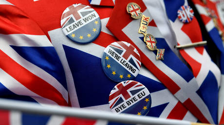 Pro-Brexit pins are seen on supporter's jacket at Parliament Square, on Brexit day in London, Britain January 31, 2020