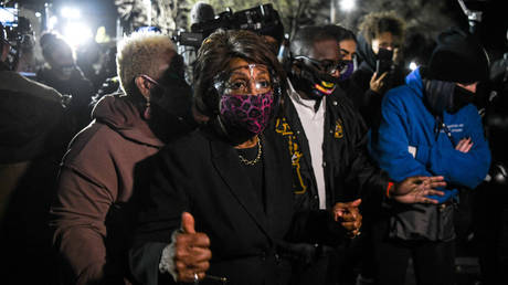 Representative Maxine Waters(C) (D-CA) speaks to the media during an ongoing protest at the Brooklyn Center Police Department in Brooklyn Centre, Minnesota on April 17, 2021.