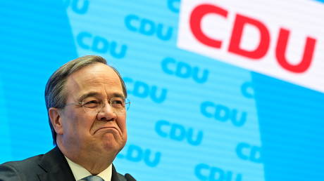 FILE PHOTO: The head of Christian Democratic Union (CDU), Armin Laschet, gives a news conference in Berlin, Germany, on April 20, 2021.