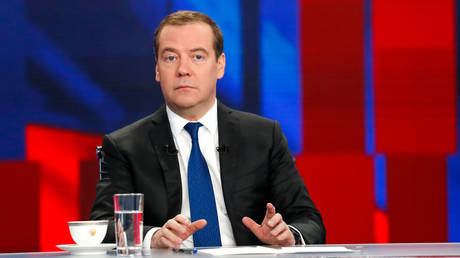 Russia's Prime Minister Dmitry Medvedev speaks during an annual interview to Russian TV channels in Moscow, Russia December 5, 2019.