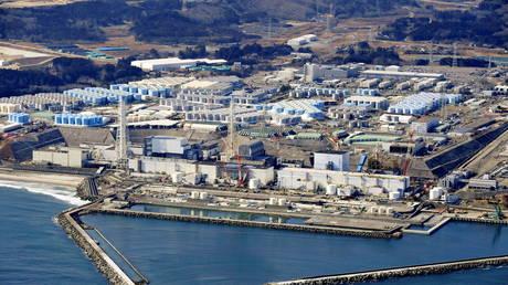 An aerial view shows the storage tanks for treated water at the tsunami-crippled Fukushima Daiichi nuclear power plant in Okuma town, Fukushima prefecture, Japan (FILE PHOTO) © Kyodo/via REUTERS