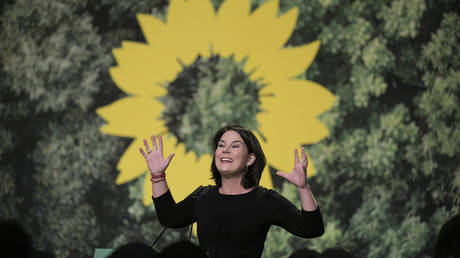 German Green party co-leader Annalena Baerbock delivers a speech at a two-day party congress of the German Green party in Bielefeld, western Germany on November 16, 2019.