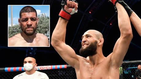UFC stars Khamzat Chimaev (right) and Nick Diaz could meet © Instagram / nickdiaz209 | © Jeff Bottari / Zuffa LLC / USA Today Sports via Reuters