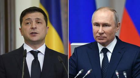(L) Volodymyr Zelensky © REUTERS / Kevin Lamarque; (R) Vladimir Putin © Sputnik / Alexei Danichev