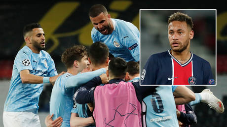 PSG star Neymar (right) was unimpressed as Manchester City beat his side in the Champions League © Benoit Tessier / Reuters