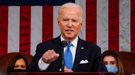 US President Joe Biden addresses 140 members of Congress, April 28, 2021.