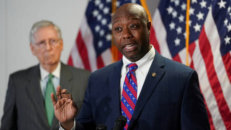 FILE PHOTO: Sen. Tim Scott (R-SC) speaks to reporters after the Senate Republicans weekly policy lunch on Capitol Hill in Washington US, June 23, 2020