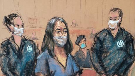 British socialite Ghislaine Maxwell appears during her arraignment hearing on a new indictment at Manhattan Federal Court in New York City, New York, US, April 23, 2021, in this courtroom sketch.