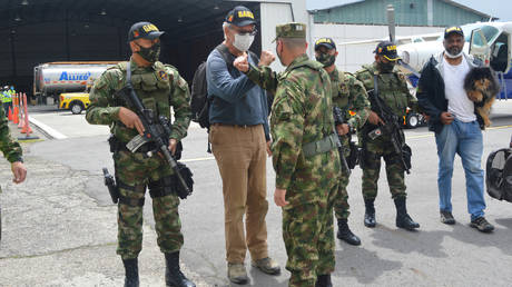FILE PHOTO: Former FARC abductee Daniel Guggenheim of Switzerland after being rescued from kidnappers, Bogota, Colombia on June 18, 2020