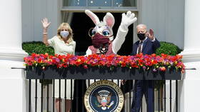 Eye-rolls & cheers as MASKED bunnies descend on White House to join Biden's Easter address & greet reporters