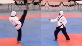 Nigerian female fighter captures taekwondo gold while EIGHT MONTHS PREGNANT (VIDEO)