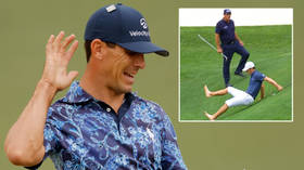 'Man down at Augusta': Billy Horschel has golf fans in hysterics as he SLIPS on the course during dramatic 13th hole (VIDEO)