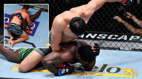 'What the f**k is that?' Fighter floors foe then heads him in crotch on top of condom advert in bloody UFC Vegas 23 win (VIDEO)