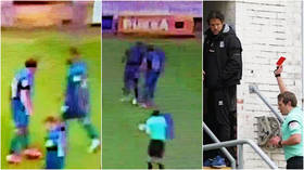 'It's embarrassing': Feuding teammates in 'budget version of Zidane vs. Materazzi' as player is sent off for 'headbutt' (VIDEO)
