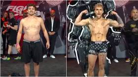 'Did he even train?': Ben Askren shows off 'dad bod' ahead of Jake Paul boxing match as fans goad him for 'beer belly' (VIDEO)