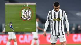 'Covering his pretty face': Ronaldo panned for efforts in wall after he DUCKS to avoid ball as Juve concede free-kick goal (VIDEO)