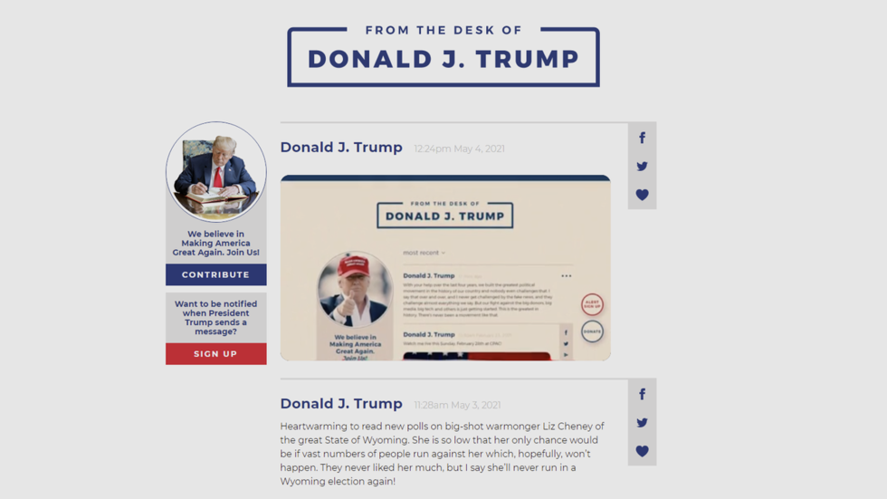 Trump makes online comeback with virtual 'desk' that mimics his wiped Twitter feed