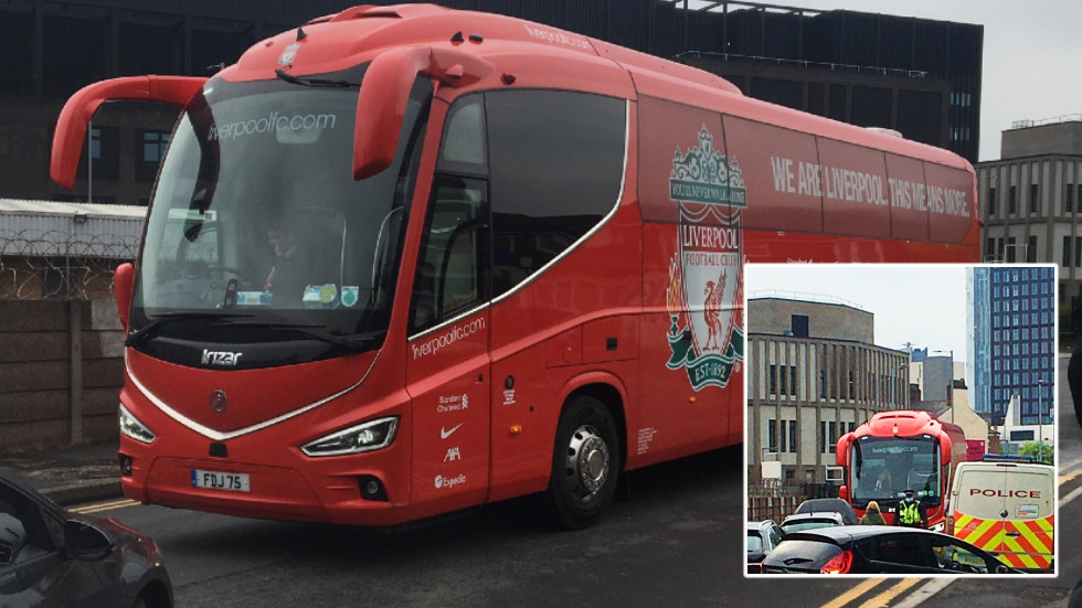 Concerns of more unrest at Manchester United Premier League game grow as fans block Liverpool's bus on way to Old Trafford (VIDEO)
