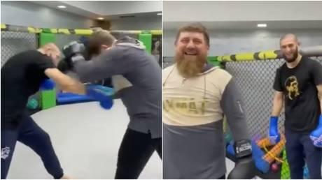UFC star Chimaev was seen in the cage with Chechen leader Kadyrov. © Instagram @ya_pomoshnik_kra_95
