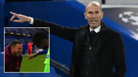 Zinedine Zidane (right) and Eden Hazard crashed out of the Champions League with Real Madrid against Chelsea © Twitter / btsportfootball | © Toby Melville / Reuters