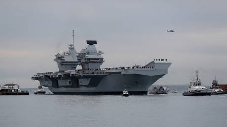 The Royal Navy's new aircraft carrier HMS Queen Elizabeth arrives in Portsmouth, Britain, August 16, 2017