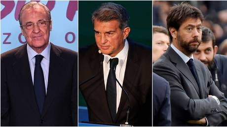 Real Madrid boss Florentino Perez and Barcelona and Juventus counterparts Joan Laporta and Andrea Agnelli. © Reuters / AFP