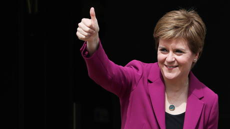 Nicola Sturgeon arrives at Bute House, in Edinburgh, Scotland, Britain, May 9, 2021 © Reuters / Russell Cheyne