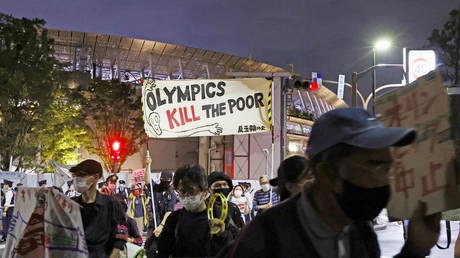 Protesters targeted an Olympics test event to vent their anger. © Kyodo via Reuters