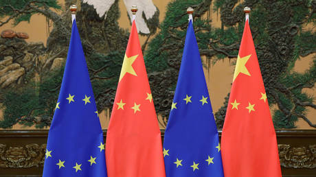 Flags of European Union and China are pictured during the China-EU summit in Beijing, 2016