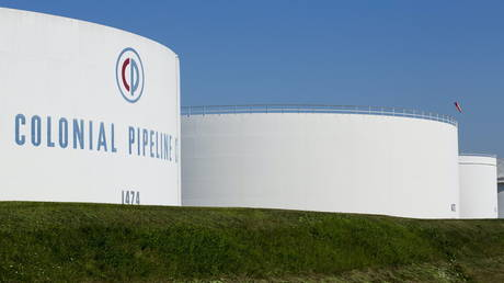 Holding tanks are seen at Colonial Pipeline's Linden Junction Tank Farm in Woodbridge, New Jersey, US