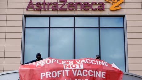 Demonstration outside the Cambridge AstraZeneca site in Cambridge, Britain, May 11, 2021