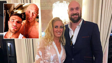Boxing champion Tyson Fury with cousin Tommy (left) and wife Paris © Instagram / tommyfury | © Instagram / parisfury1