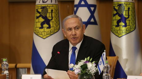 Israeli Prime Minister Benjamin Netanyahu attends a special cabinet meeting on the occasion of Jerusalem Day